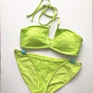 Aerie Lime Green Lace Bandeau Bikini w/ Beads NWOT